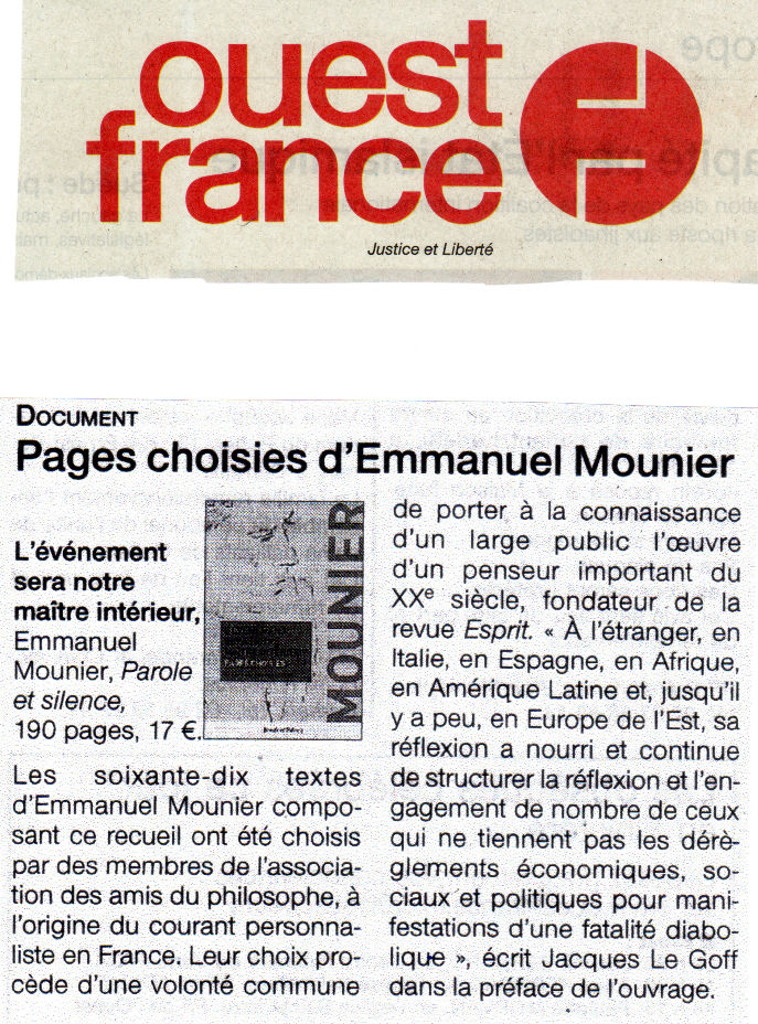 ouest france pages choisies d emmanuel mounier